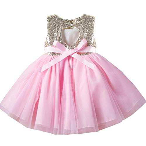 Princess Formal Special Occasion Dress for Girl 3t 4t Kids Shiny Sequins Brithday Tulle Tutu Cute Lace Party Girls Dresses Fancy Puffy Ruffle Dresses Pink Holiday Easter Christening Baptism Girl Dress -