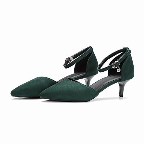 Mee Shoes Damen elegant Kitten heels Nubukleder Pumps Dunkelgrün