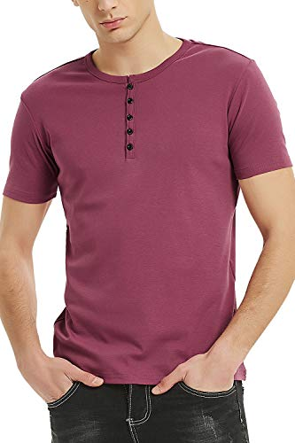 Henley Shirts for Men Short Sleeve Cotton Henley Button Tee (L, Maroon)