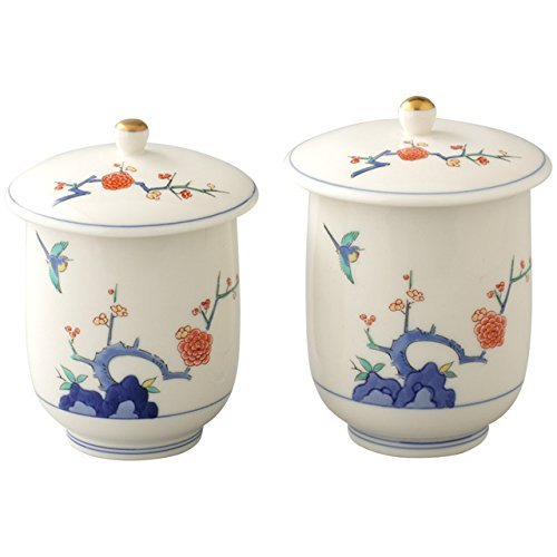 Plum Flower Arita yaki 3.2inch Set of 2 Japanese Tea Cups White Porcelain by Watou.asia