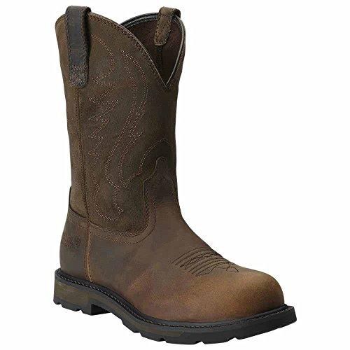 Ariat Men's Groundbreaker Pull-On Steel Toe,Brown Full Grain Leather,US 11.5 2E (Heels Steel Ariat Toe)