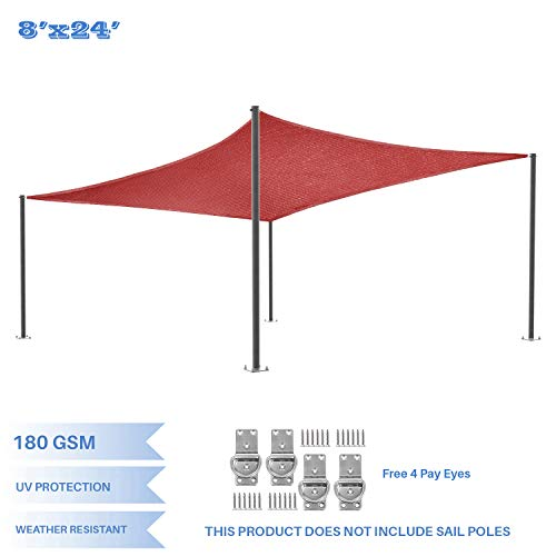 E K Sunrise 8 x 24 Red Rectangle Sun Shade Sail Outdoor Shade Cloth UV Block Fabric,Curve Edge-Customized