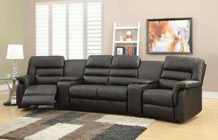 Acme Furniture Nicholas 51620 Home Theatre Set with Left Arm Facing Recliner 2 Consoles Armless Loveseat Right Arm Facing Recliner and PU Leather Upholstery in Espresso