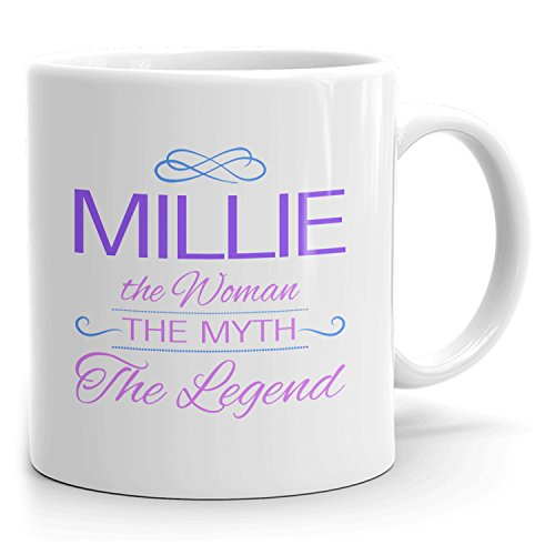 Millie Coffee Mugs - The Woman The Myth The Legend - Best Gifts for Women - 11oz White Mug - Purple