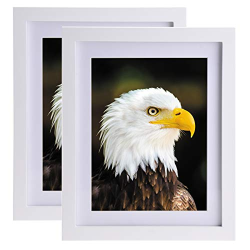 JAYONG Portrait Picture Frame White Wooden Photo Frame 8x10 inches Size Eco-Friendly Paint Premium and Durable Quality Clear and Bubbles Free Glass Portrait and Landscape Photo Frames Online ()