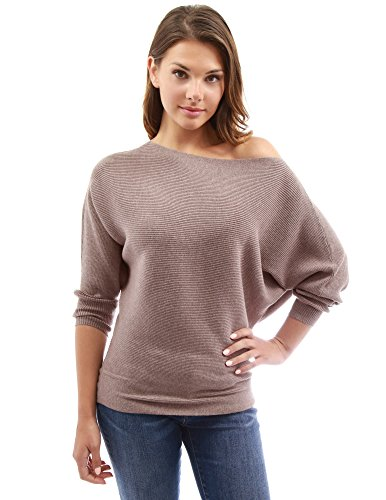 PattyBoutik Women's One Shoulder Batwing Ribbed Sweater (Light Brown M)