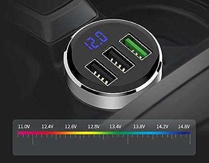 puertos USB: 4.8A Aleaci/ón de aluminio iSmart Tecnolog/ía GRK/® Nuevo Mini cargador inteligente QC3.0 iSmart encendedor del coche Output 5V 3usb oro Input: 12-24V