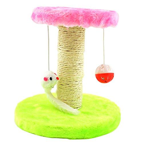 NEAN Katzen Spielzeug mit Kratzbaum, Plattform inkl. Maus und Ball mit Glöckchen