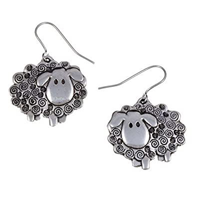 St Justin Pewter Swirly Sheep Drop Earrings BDYofWrN4v