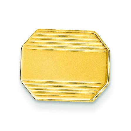 14K Yellow Gold Polished Octagon Engravable Tie Tac by Accessory Tie Bar (Image #2)