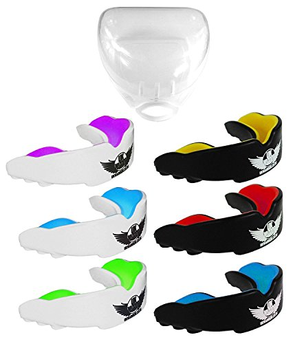 Sports Martial Arts (UK Warrior Gum Shield Mouth Guard Gum Guard, Ideal For Contact Sports, Martial Arts, Karate, MMA, Boxing, Hockey, Football, Carry Case and Instructions For Boil & Bite Included (Black & Blue, Child))