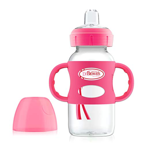 Dr. Brown's Options Wide-Neck Sippy Spout Baby Bottle with Silicone Handle, Pink, 9 Ounce
