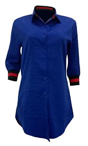Jaycargogo Occasionnel Des Femmes De 3/4 Sleevel Robe Chemise Tunique Bouton Avant Bleu