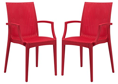 LeisureMod Hickory Weave Indoor Outdoor Patio Dining Side Armchair in Red, Set of 2