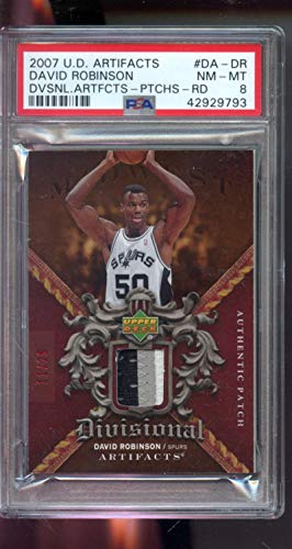 - 2007-08 Upper Deck Artifacts Divisional Authentic Patch Red David Robinson 11/29 Game Used Game Worn Jersey PSA 8 Graded NBA Basketball Card