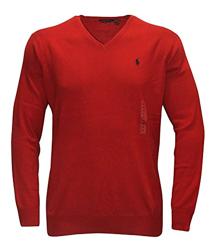 - Ralph Lauren Men's Polo V-Neck Pima Cotton Pony Logo Sweater (X-Small, Tudor Red)