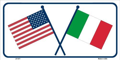 LP-477 United States/Italy Crossed Flags Vanity Metal Novelty License eEcZy Plate Tag Sign sign licence lisence plate metal ajasjsje45667890 hgjjjdnb nnbmvjdk erttyuiopighsder ghjvn vbncdfferttyui sddfghjjweq gjjei3i 6'' x 12'' standard automotive al by veeurikolet