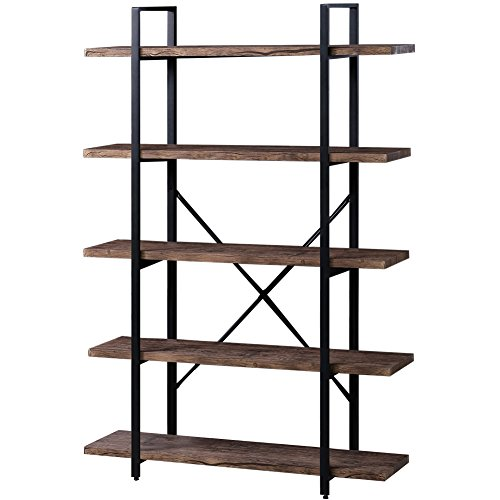 Painted Distressed Wood Bookcase - SUPERJARE 5-Shelf Industrial Bookshelf, Open Etagere Bookcase with Metal Frame, Rustic Book Shelf, Storage Display Shelves, Wood Grain - Vintage