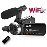 Camcorder Digital Video Camera, WiFi Vlog Camera Camcorder with Microphone IR Night Vision