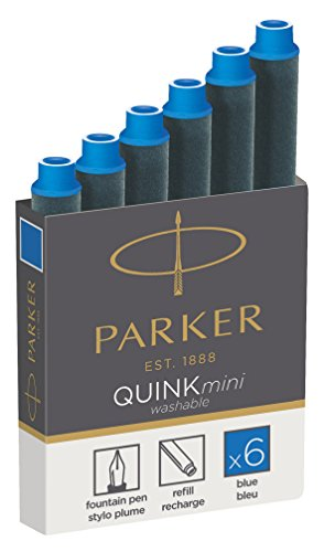 Parker Quink Fountain Pen Refills, Shorts Cartridges, Blue Ink, Pack of 6