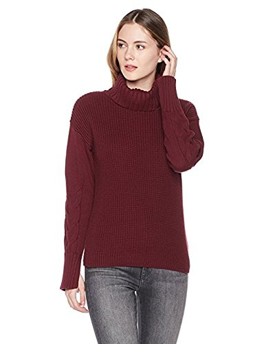True Angel Women's Turtle Neck Long Sleeve with Slit Pullover M Tawny Port (Tawny Apparel)