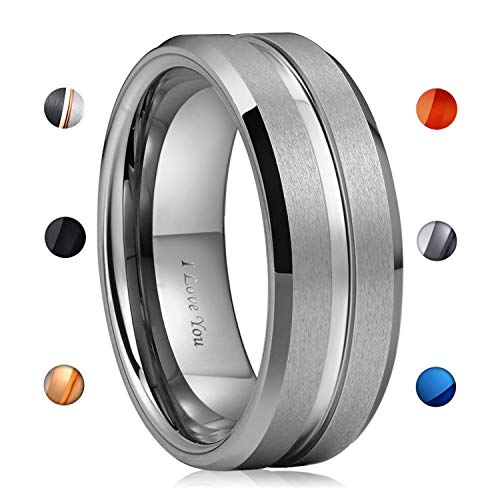 Engraving Tungsten Rings - WASOLIE Tungsten Carbide Wedding Ring Engagement Band for Men Women Rose Gold Blue Black Matte Brushed Comfort Fit 8mm