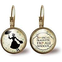 """Orecchini cabochon""""Mary poppins"""", Regalo di Natale per idea regalo moglie - San Valentino- regalo di compleanno - bronzo (ref.95)"""
