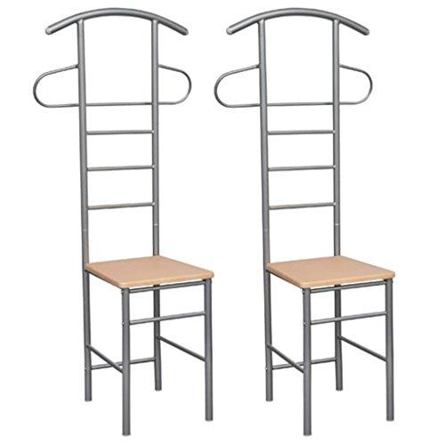 Festnight 2PCS Bedroom Gentleman's Valet Chair Durable Wardrobe Storage Mens Valet Standing Light Brown 20.5