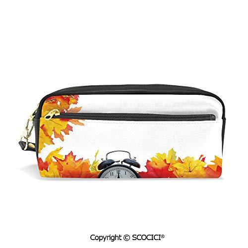 Students PU Pencil Case Pouch Women Purse Wallet Bag Autumn Leaves and an Alarm Clock Fall Season Theme Romantic Print Waterproof Large Capacity Hand Mini Cosmetic Makeup Bag