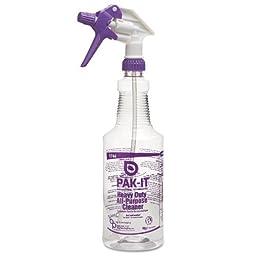PAK-IT Color-Coded Trigger-Spray Bottle, 32 oz, Purple: Heavy-Duty All Purpose Cleaner (6 Bottles) - BMC-BIG 574420004012