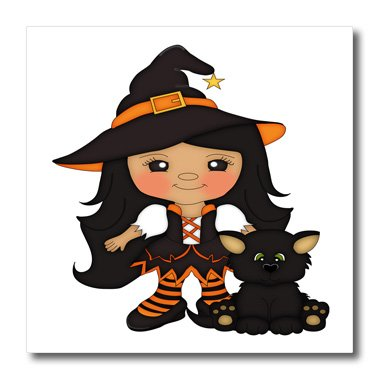 adf47a8e Image Unavailable. Image not available for. Color: 3dRose ht_216862_2 Cute  Girl Witch with A Black Cat & A Star on Her Hat Iron