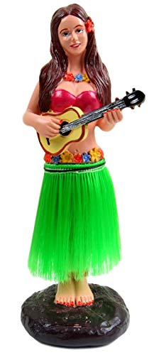 Dashboard Hula Girl Bobblehead Figurine 6″ Grass Skirt Dancing Ukelele Hawaii