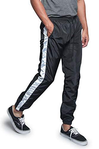 Mens Premium Striped Windbreaker Ankle Zip Contrast Outer Side Stripe Drawstring Premium Nylon Track Pants