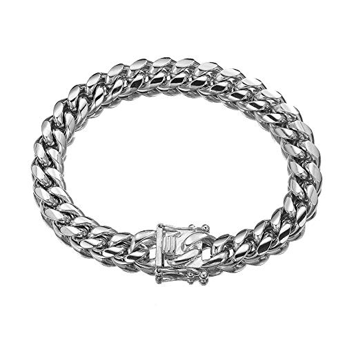 W/W Lifetime Stainless Steel 14K Platinum Cuban Link Miami Chain Bracelet OR Necklace for Mens Womens, Elegant - Bracelet Clasp Polished