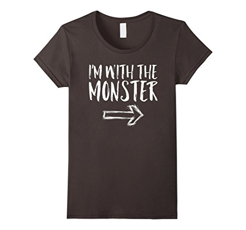 Womens I'm With The Monster Halloween Costume Funny Cute Shirt Medium Asphalt