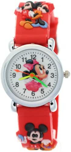 Disney Red Rubber Strap Analogue Kids Watches with Mickey Mouse Theme