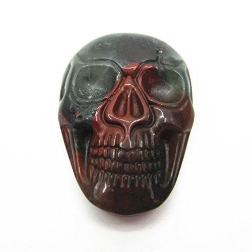 35mm Carved natural stone gemstone skull cab cabochon 1/pc similar send (Blood stone)