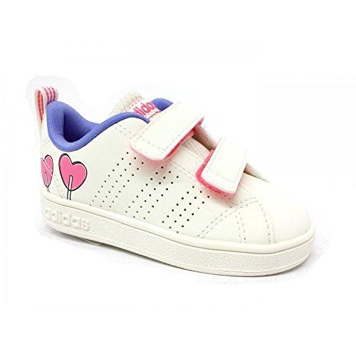 adidas Unisex Baby Vs ADV CL CMF Inf Sneaker Elfenbein (Chalkwhite/chalkwhite/chalk Purple S18)