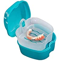 Denture Case, Denture Cup with Strainer, Coolrunner Denture Bath Box False Teeth Storage Box with Basket Net Container…