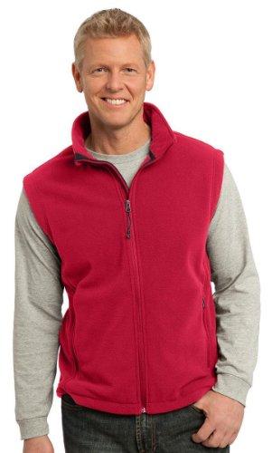 Port Authority Mens Super Soft Zipper Fleece Vest, True Red, Large (Soft Vest Fleece)