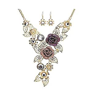 MosBug Handmade 3D Bling Crystal Rose Flower Leaf Statement Collar Necklace Earring Set