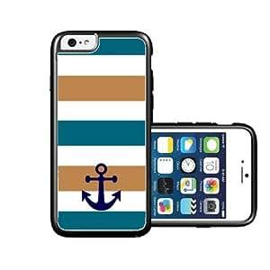RCGrafix Brand Blue Mocha Striped Anchor iPhone 6 Case - Fits NEW Apple iPhone 6