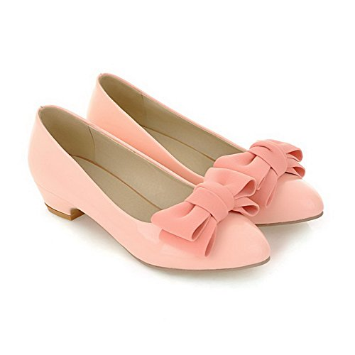 PU Closed Pumps Shoes 34 Low Toe WeiPoot Round Women's Lightpink Heels wqBxZpgY