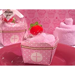 Cupcake towel favor pink Cross design From FavorOnline