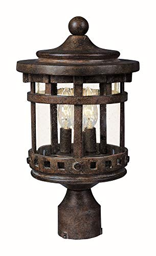 Maxim 3137CDSE Santa Barbara Cast 3-LT Outdoor Pole/Post Lantern, Sienna Finish, Seedy Glass, CA Incandescent Incandescent Bulb , 60W Max., Dry Safety Rating, Standard Dimmable, Frosted Glass Shade Material, Rated Lumens