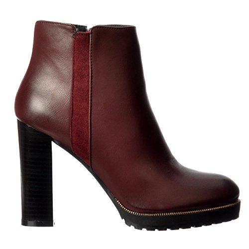 Donne Tallone Ankle Boot Tan Blocco Borchie L'oro Borgogna Bordo Delle Metà Onlineshoe Nero OwU1qfZx