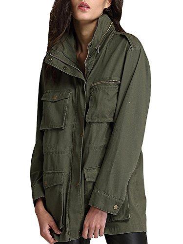 - AUSZOSLT Women's Lightweight Cargo Anorak Jacket Drawstring Hooded Military Parka Coat 2XL