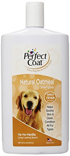 Oatmeal Shampoo for Dogs, 32 Ounce Bottle, French Vanilla by Perfect Coat ()