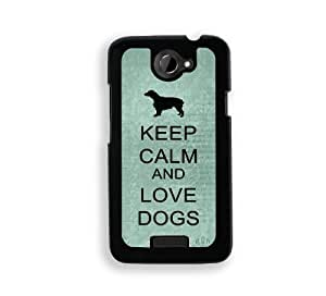 Keep Calm And Love Dogs - Teal Floral - Protective Designer BLACK Case - Fits HTC One X / One X+