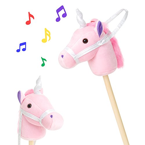 - Best Choice Products 38in Kids Stuffed Plush Pretend Giddy Up Unicorn Stick Toy w/ Fun Sounds and Velcro Strap - Pink